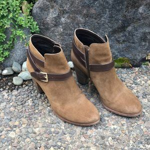 Cole Haan Brown Suede Leather Buckle Ankle Boots